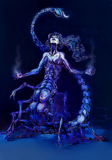 Scorpion woman in blue light