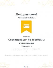 Сертификат Google Ads Shopping