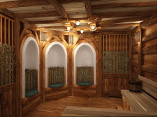 Сенная баня в деревенском стиле