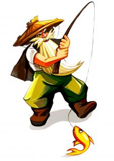 Скетч персонажа.Бессмертный рыбак