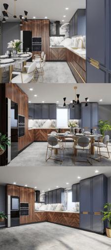Дизайн кухни. Вариант цветового решения фасадов 2