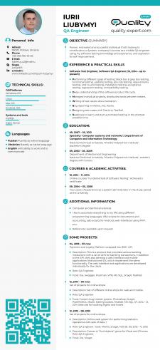 Дизайн резюме для компании QA-Expert