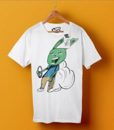 макет футболки с кроликом
