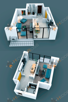 3D visualization of a two-room apartment