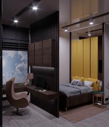 Дизайн проект спальни с рабочим местом