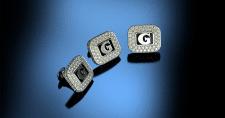 Cufflinks with diamonds and monogram