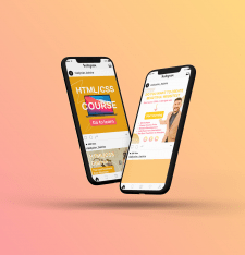 HTML/CSS Course banners for Instagram and Facebook