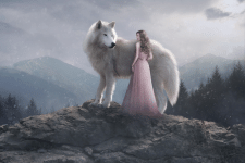 Волк и девушка (коллаж)