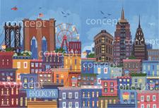 Иллюстрации Brooklyn и New York