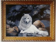 Белая волчица (картина маслом на холсте)