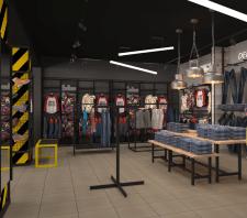 Дизайн интерьера магазина молодежной одежды