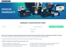 Warranty activation page