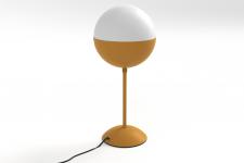 Lampe a poser metal et opaline-ocher