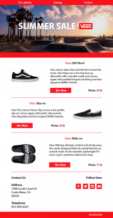 Email Mailing Template for Vans Concept