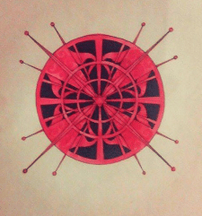 Графічна композиція виконана тушью і аквареллю,роз