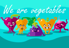 Банер з персонажами овочами