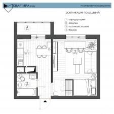Планировочное решение однокомнатной квартиры (36м2