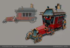 Steampunk firefighter car concept