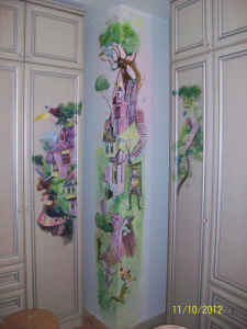 Роспись стены в детской комнате акрилом