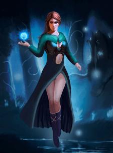 Девушка маг, рисунок персонажа