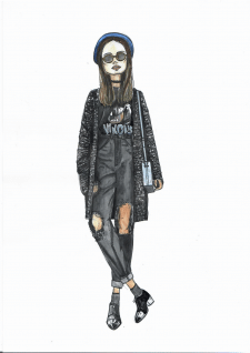 fashion illustration, акварель, по фото
