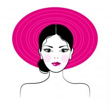 """Векторна ілюстрація """"Дівчина в шляпі"""""""