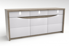 Buffet 3 portes2 tiroirs ST TROPEZ Blancchene