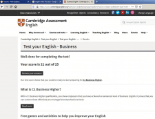 Result of English test taken online