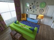 Цветной интерьер гостиной