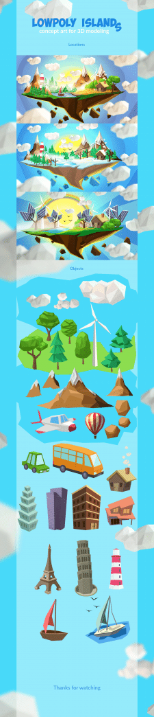 Lowpoly islands for 3D modeling for website