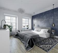Визуализация скандинавской спальни