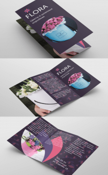 Брошюра для магазина цветов в шляпных коробках