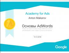 Сертификат сдачи экзамена основы Adwords