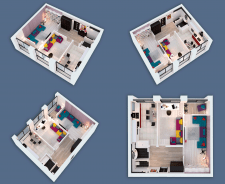 3D visualization of a two-room apartment NEW-2