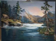 """Картина маслом """"Горная река""""."""