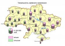 Карта населения Украины по областям
