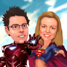 Шарж супергерои