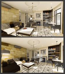 Гостиная, дизайн, визуализация