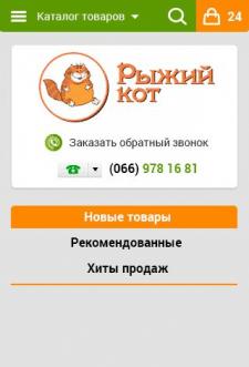 Рыжий кот. Дизайн шапки. Мобильный.