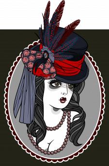 Портрет девушки в шляпе с вуалью