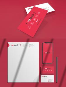 """Логотип и фирменный стиль  для компании """"Retech"""""""