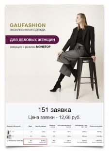 """Реклама в Инстаграм: """"Женской одежды"""""""