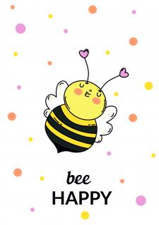 "postcard ""Bee happy"""
