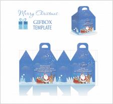Дизайн высечка новогодней коробки для подарков