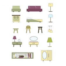 Векторная мебель в ретро-стиле