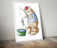 кот-рыбак, акварель