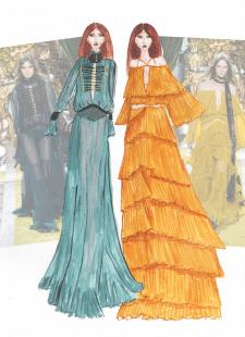Fashion-иллюстрация к показу Roberto Cavalli