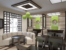 суши-ресторан-акценты зеленого