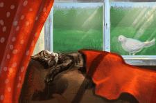 Котик на диване