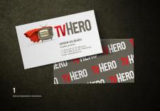 Логотип с персонажем и дизайн визиток для ТV HERO